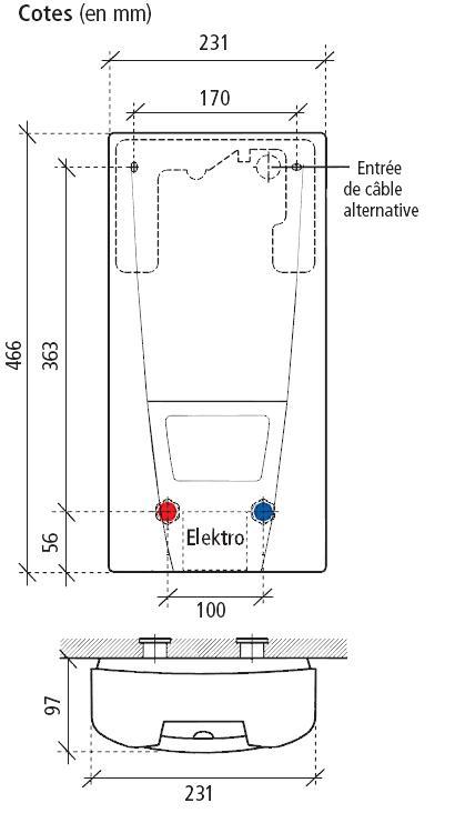 dimensions chauffe bain instantané clage dbx24