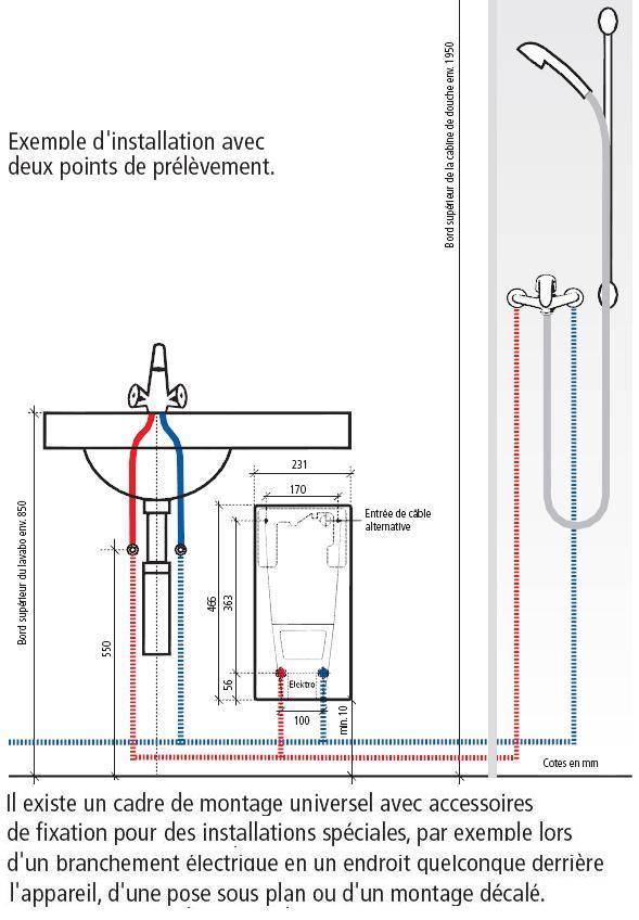 installation chauffe bain instantané clage dbx 24