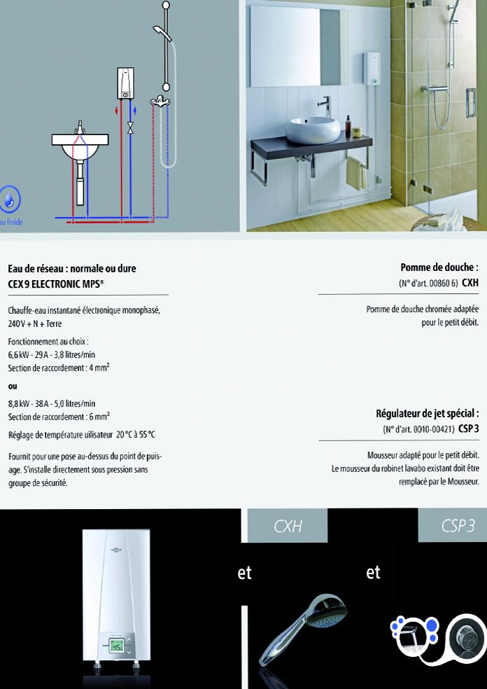 installation chauffe-eau instantané clage cex9