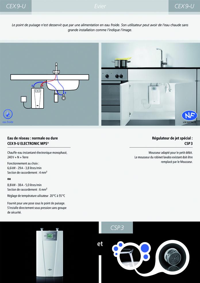 installation chauffe-eau instantané clage cex9-U