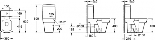 dimensions WC à poser LARX
