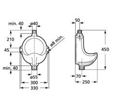 Dimensions urinoir