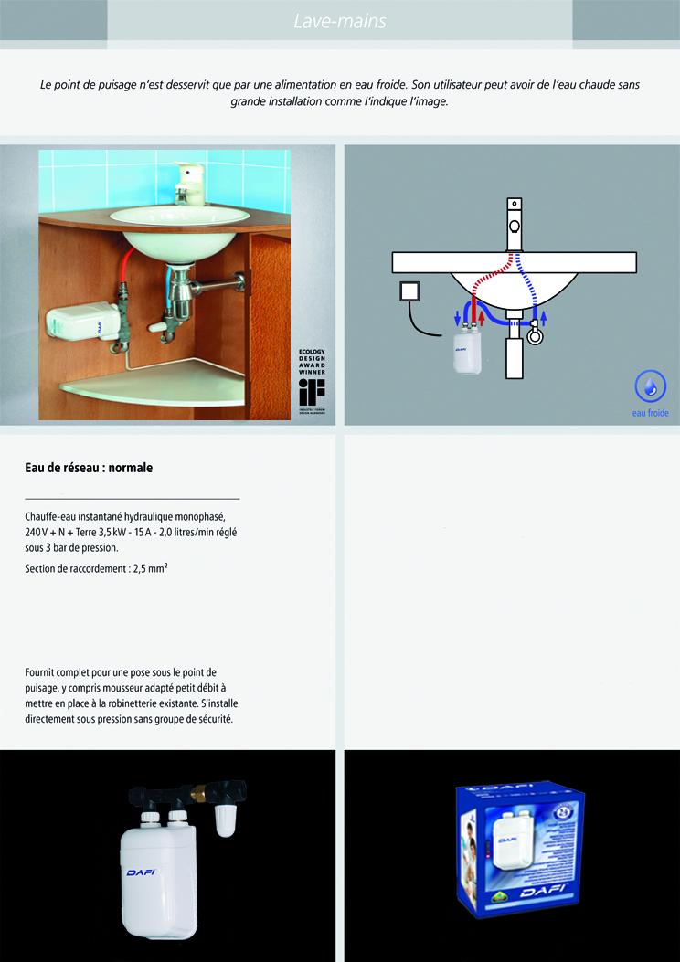 installation chauffe eau instantané dafi 3.7 kw