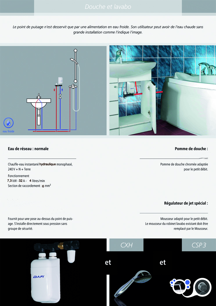 installation chauffe-eau instantané dafi 7.3 kw