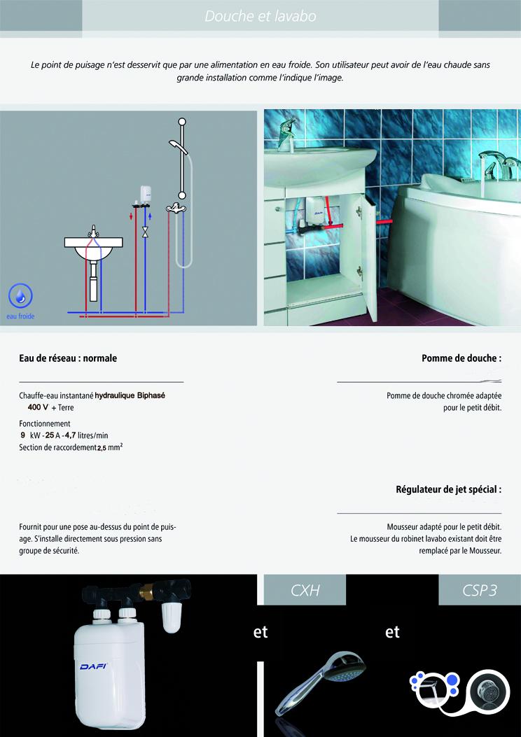 installation chauffe bain instantané dafi 9 kw