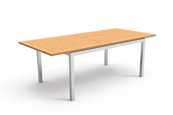 Table à manger de jardin aluminium et teck extensible Timber 156-214cm
