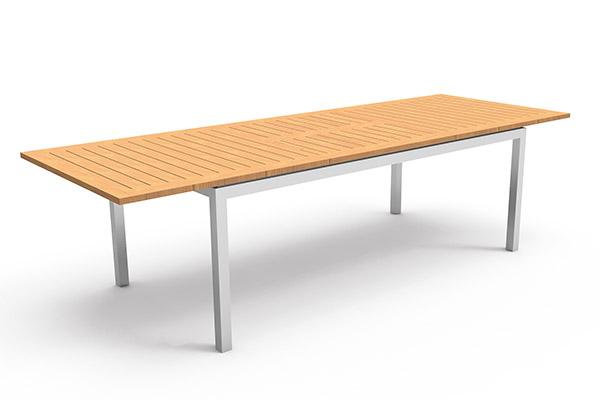 Table à manger de jardin aluminium et teck extensible Timber 200-280cm