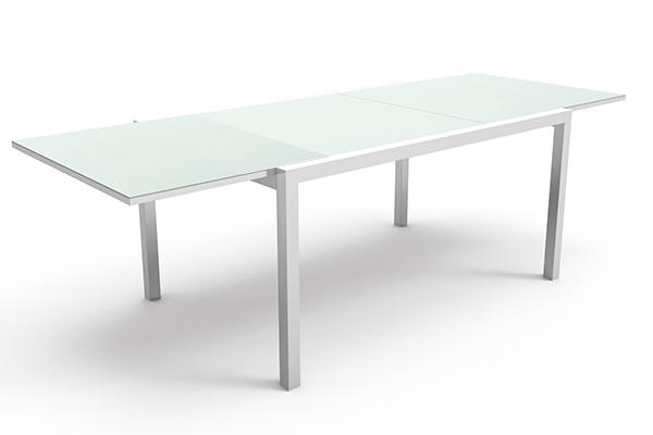 Table aluminium et verre 150 à 225cm Touch